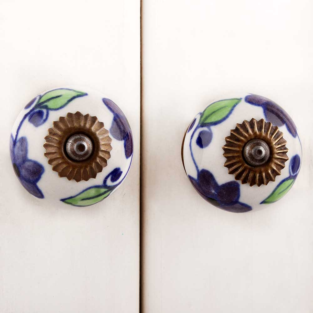 Purple Green Floral Dresser Knob