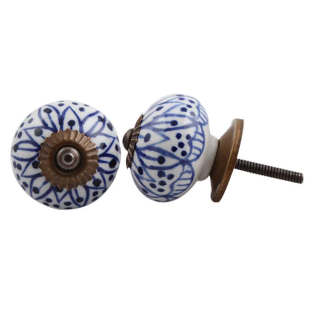 Blue Aster Flower Dresser Knob