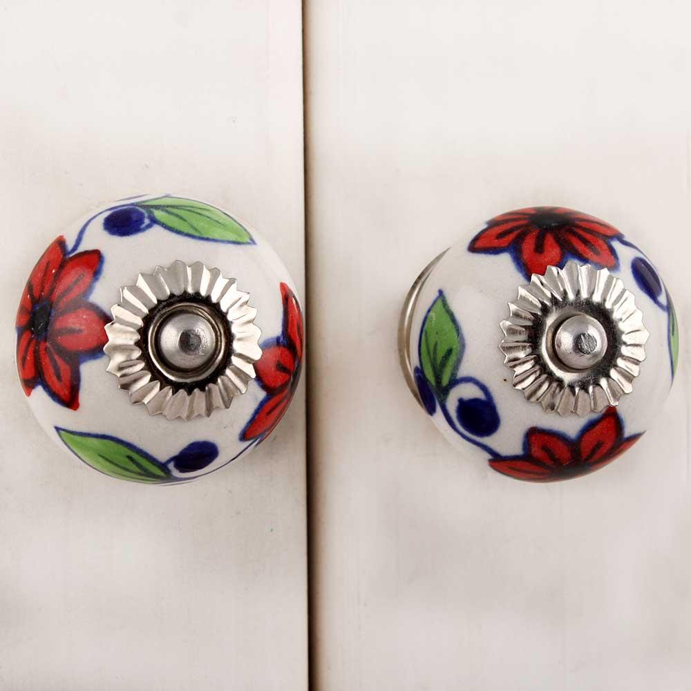 Red Flower Ceramic Drawer Knob