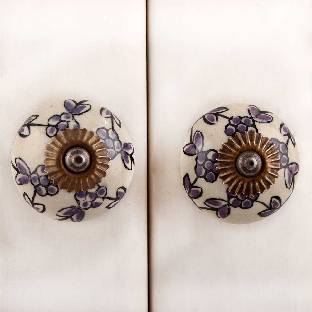 Purple Tiny Floral Dresser Knob