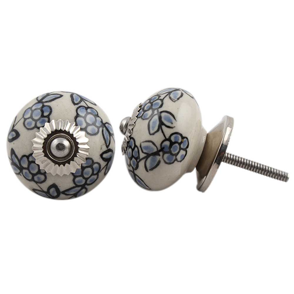 Turquoise Tiny Floral Dresser Knob