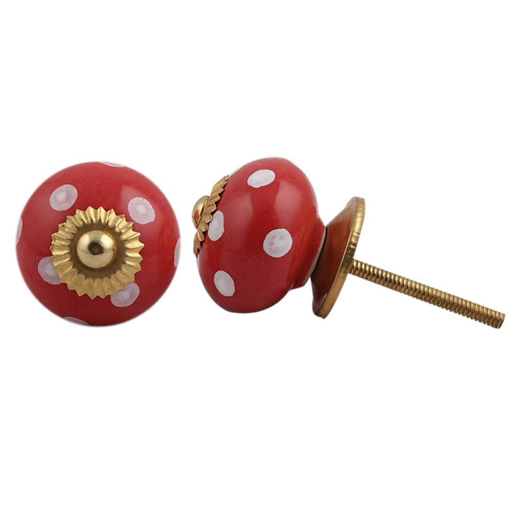 Red White Dot Ceramic Knob