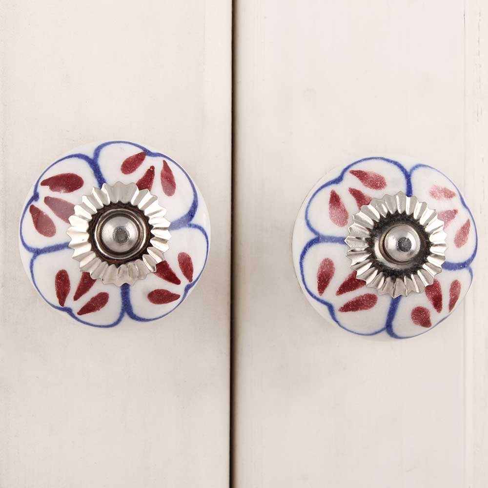 Brown Floral Ceramic Knob