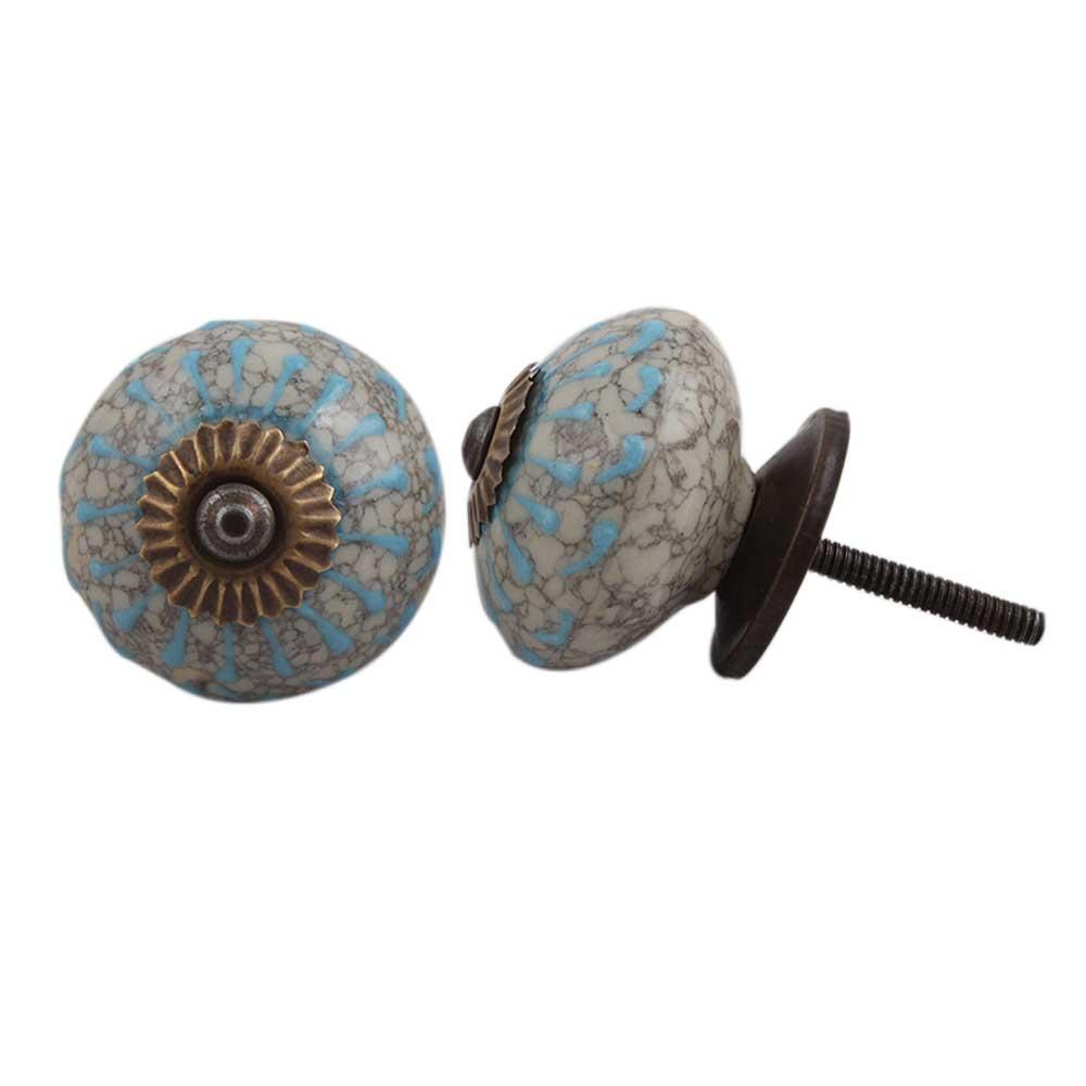 Turquoise Wheel Crackle Ceramic Cabinet Knob
