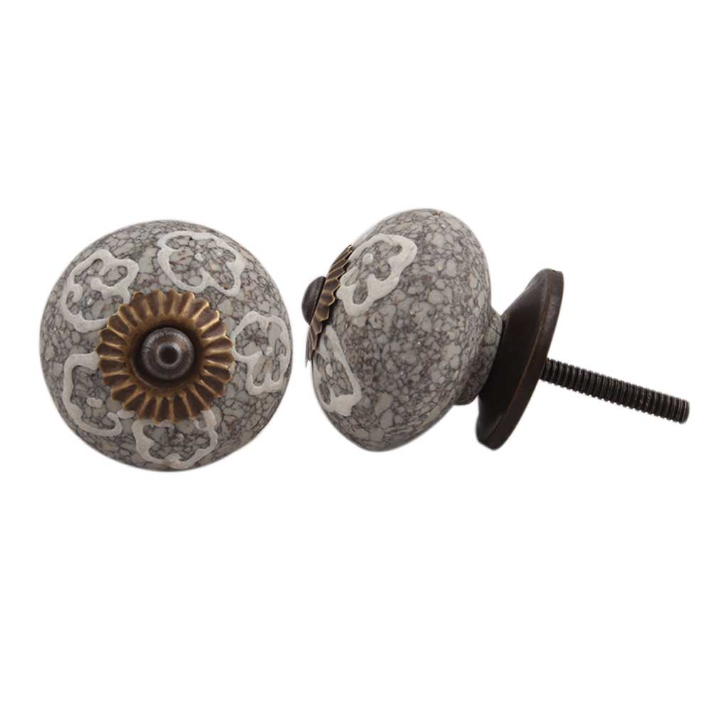 White Floral Crackle Cabinet Ceramic Knob