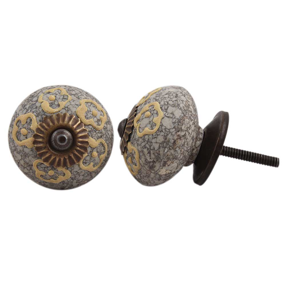 Light Yellow Floral Crackle Cabinet Ceramic Knob