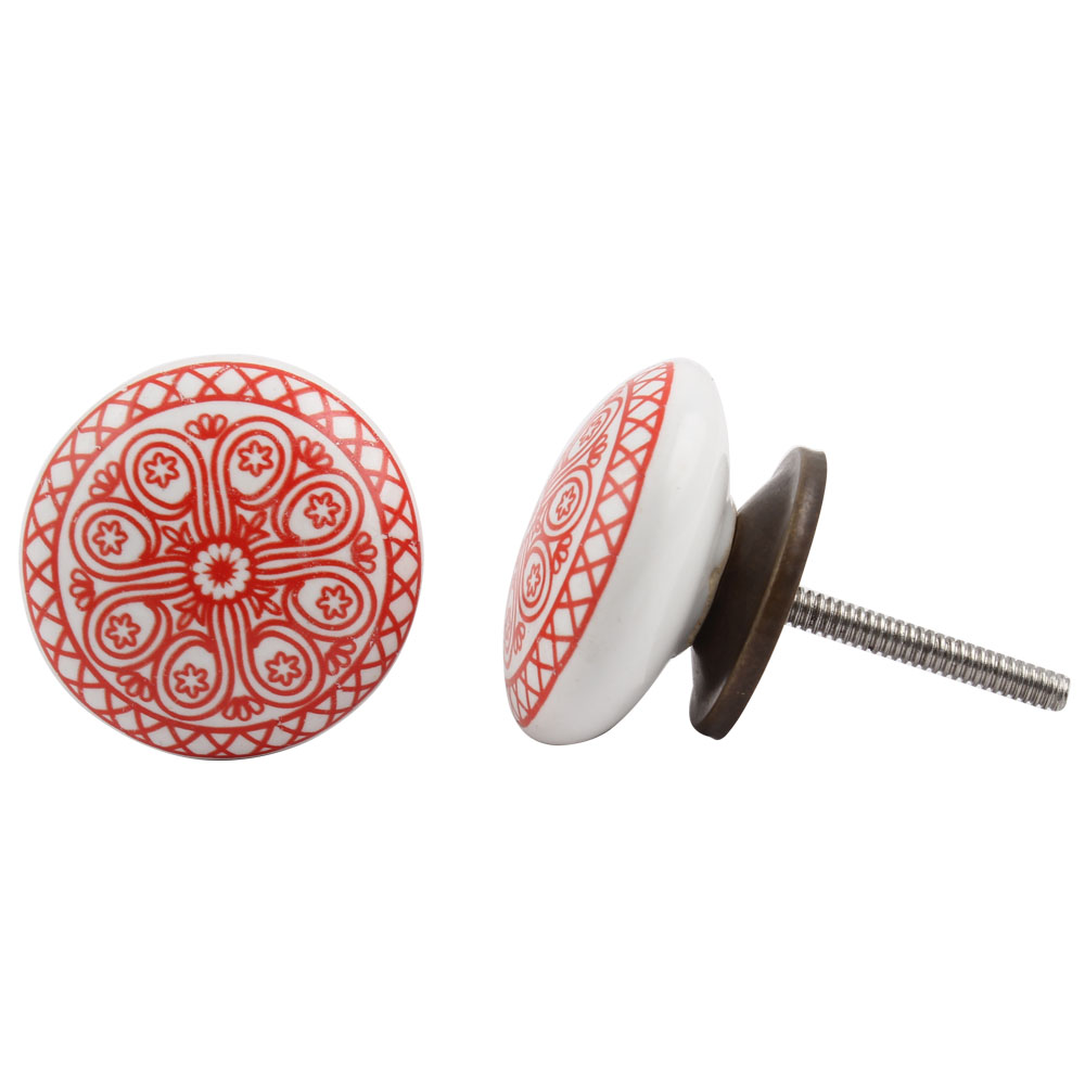 Red Wheel Flat Knob