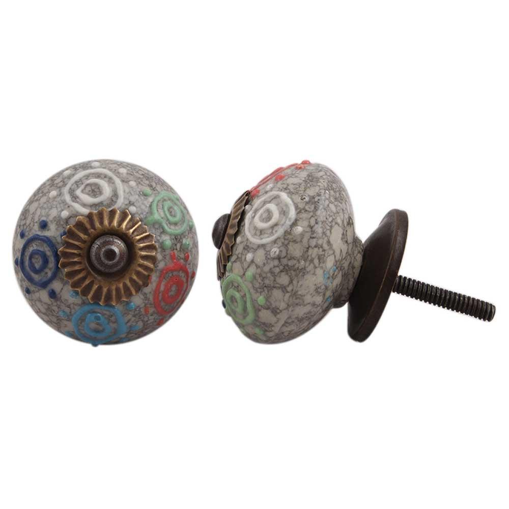 Mixed Circular Crackle Ceramic Wardrobe Knob