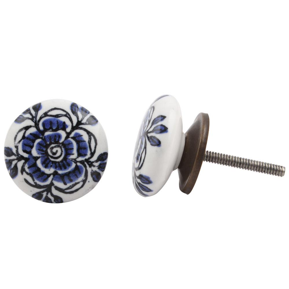 Blue Black Rose Flat Knob
