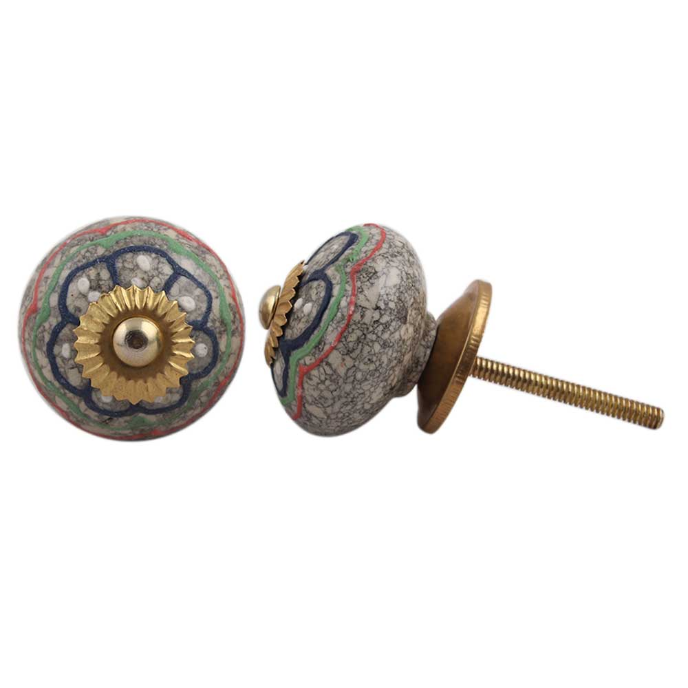 Colorful Hearts Crackle Cabinet Drawer Knob