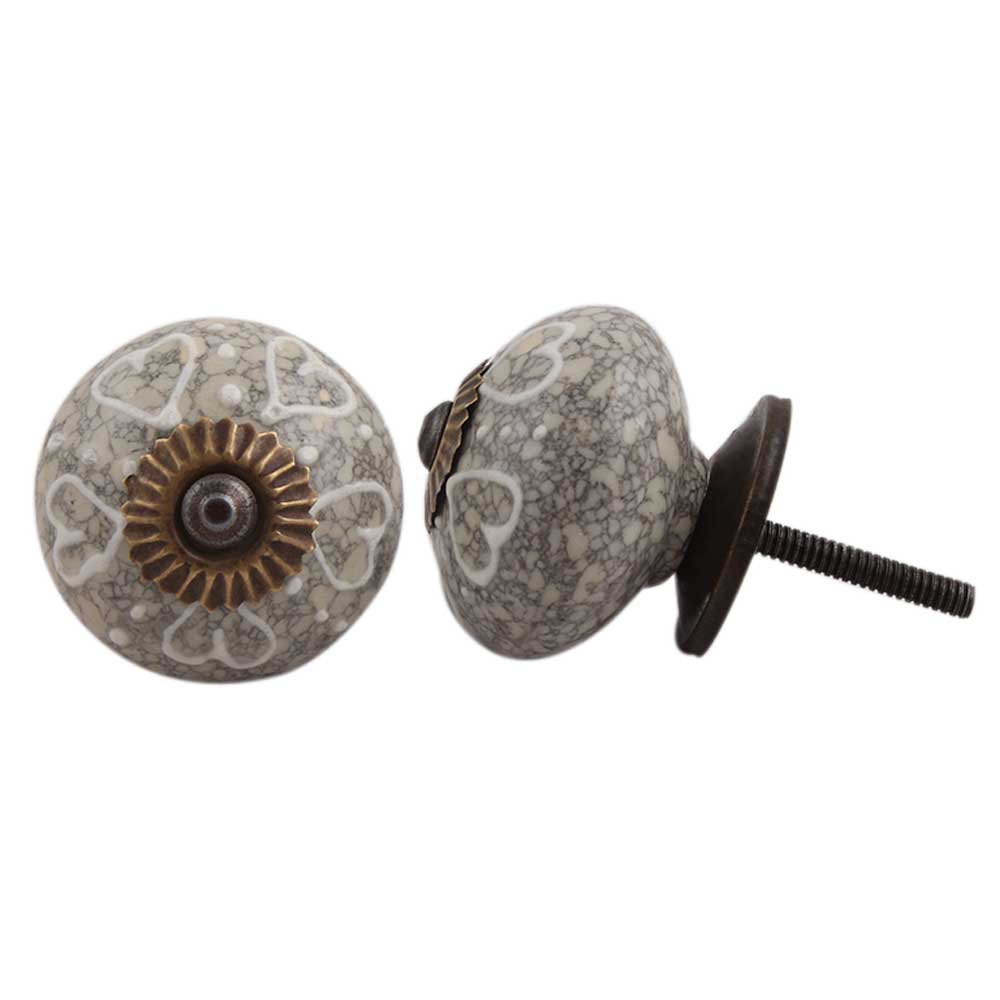 White Heart Crackle Ceramic Dresser Knob