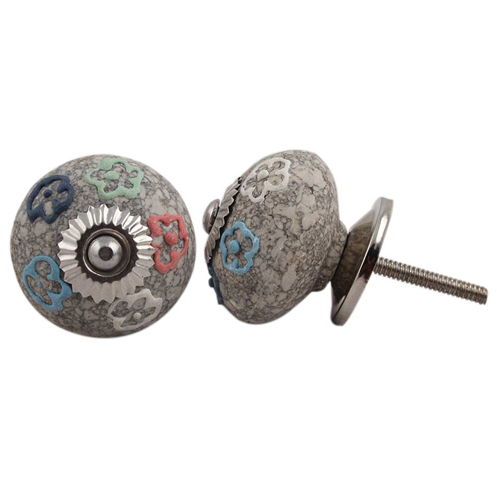 Multi Colored Floral Crackle Ceramic Drawer Knob