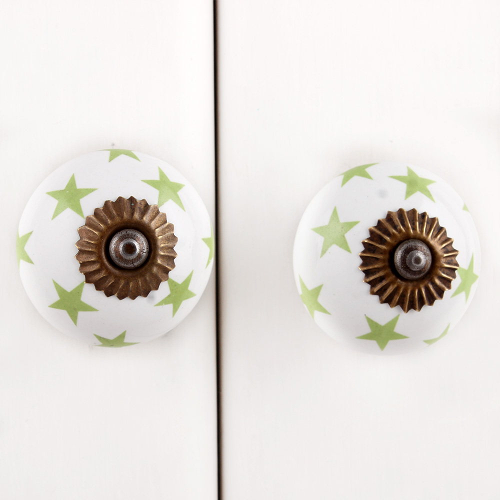 Green Star Ceramic Knob