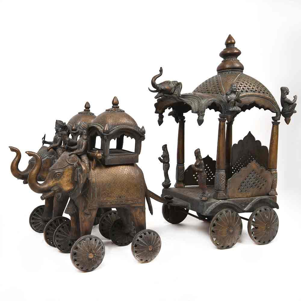 Vintage Bronze Temple Cart