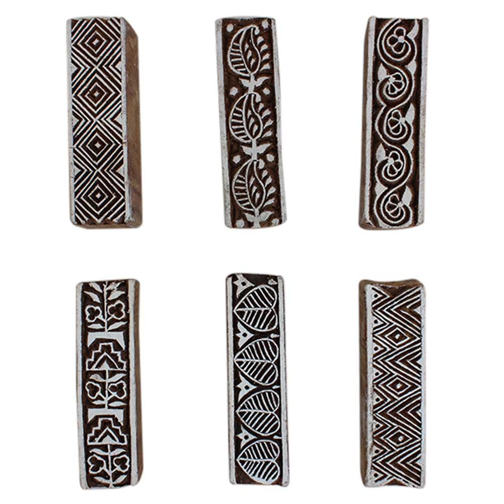 Set of 6 Piece New Mix Wooden Printing Block