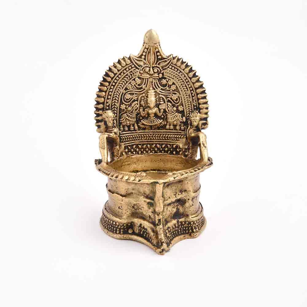 Ornate Gajalaxmi Bronze Lamp