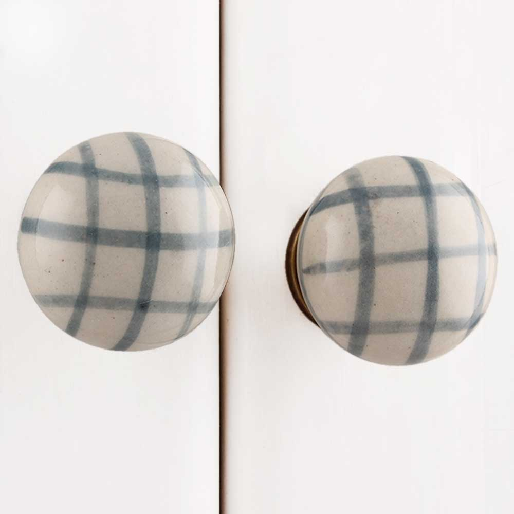 Grey Line Floral Flat Drawer Knob
