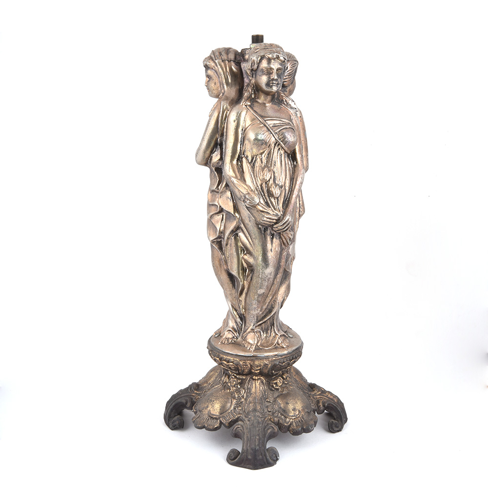 Lady Statue Metal Sculpture Lamp