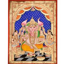 Lord Ganesha With His Two Wives
