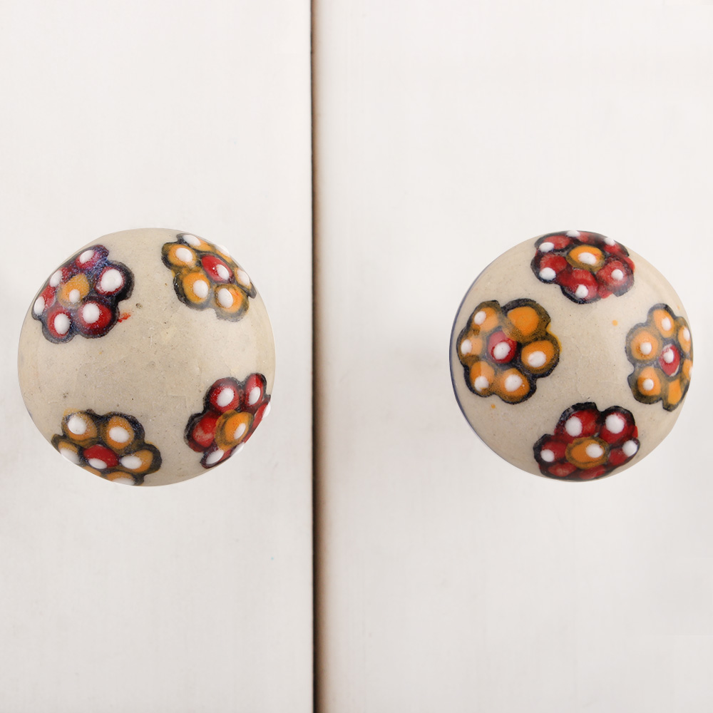 Red Orange White Floral Ceramic Bulb Knob