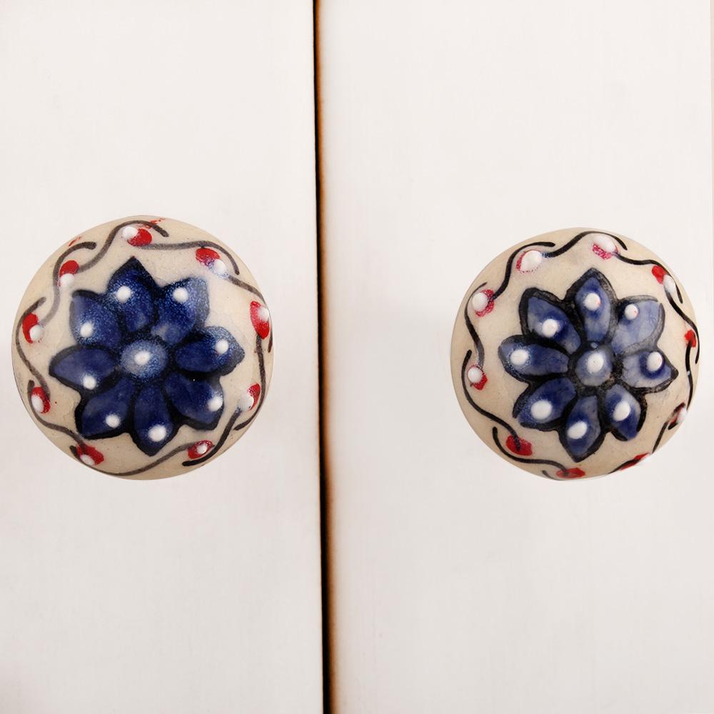 Blue Floral Cream Ceramic Bulb Knob