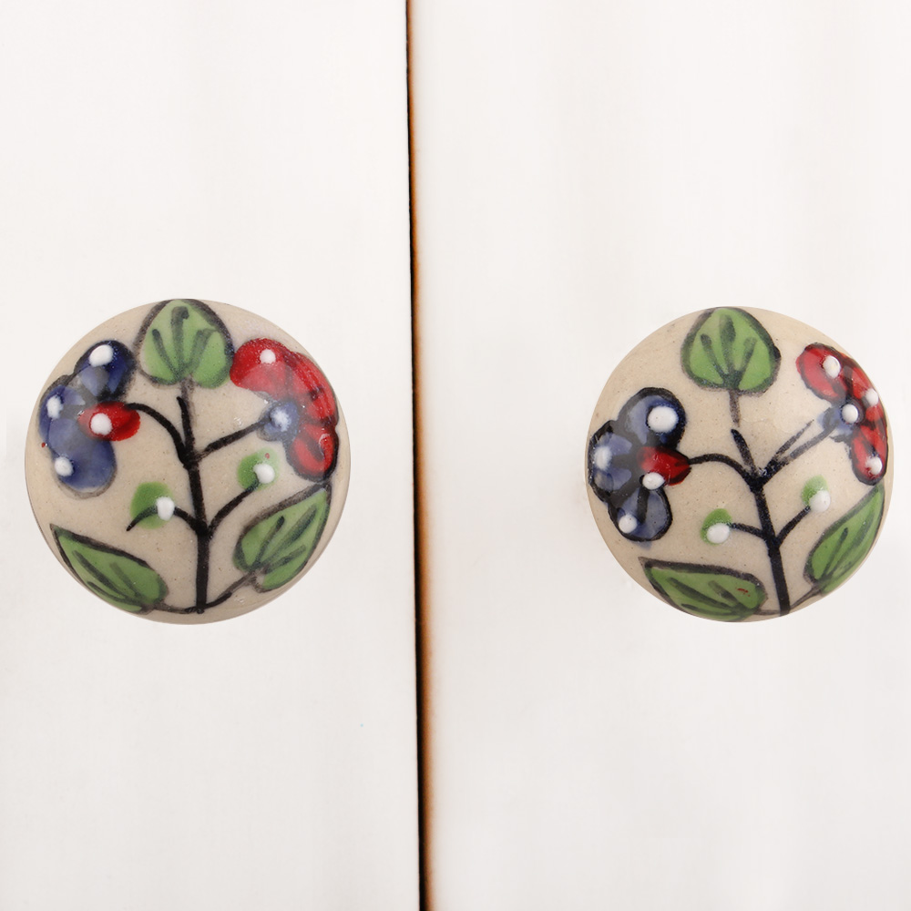 Cream Red Blue Floral Ceramic Knob