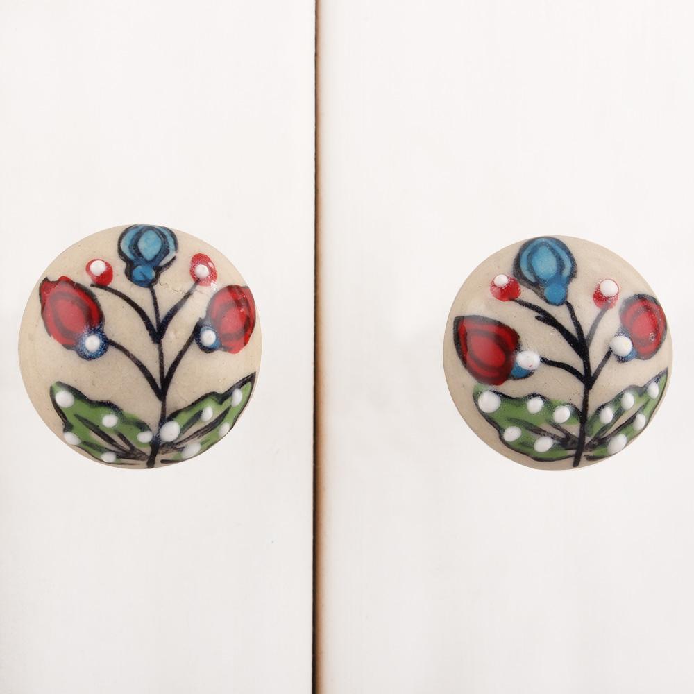 Red Bulb Green Leafy Cream Cabinet Knob