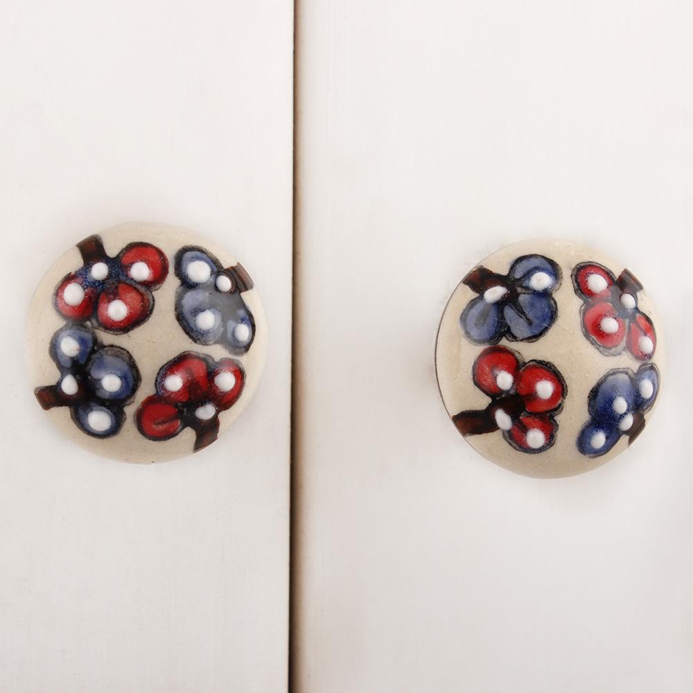 Red Blue Floral Ceramic Bulb Knob
