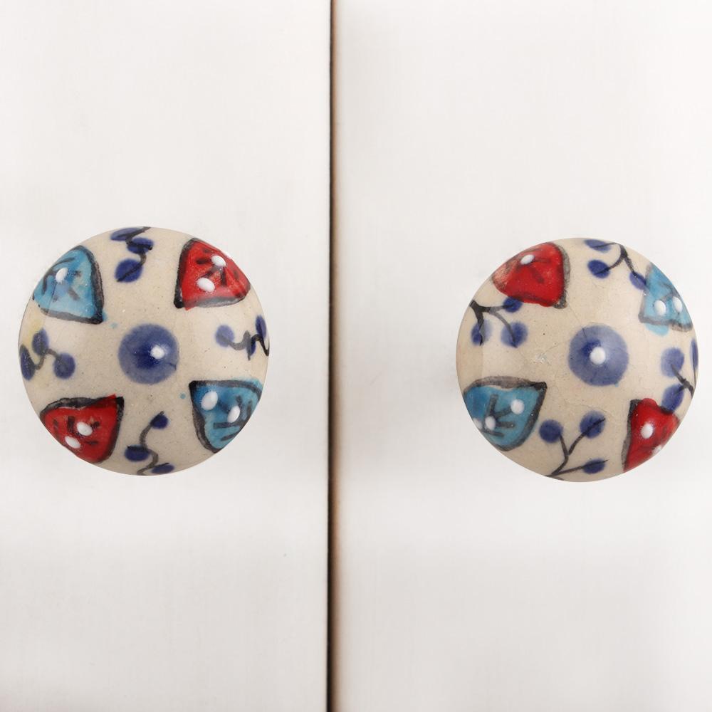 Red Blue Leafy Ceramic Dresser Knob
