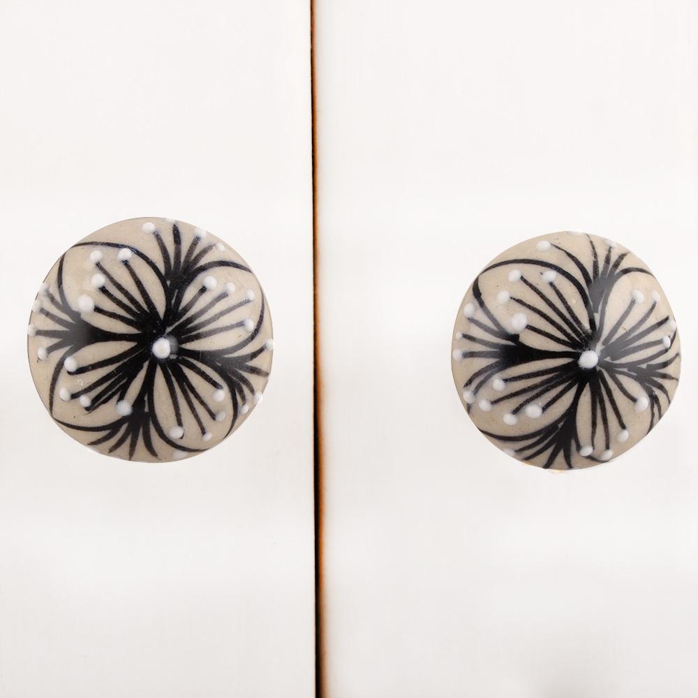 Black Handpainted Floral Ceramic Knob