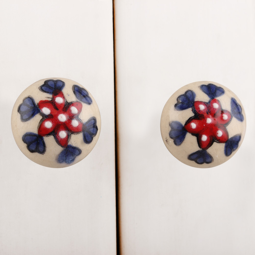 Red Dotted White Floral Ceramic Bulb Knob