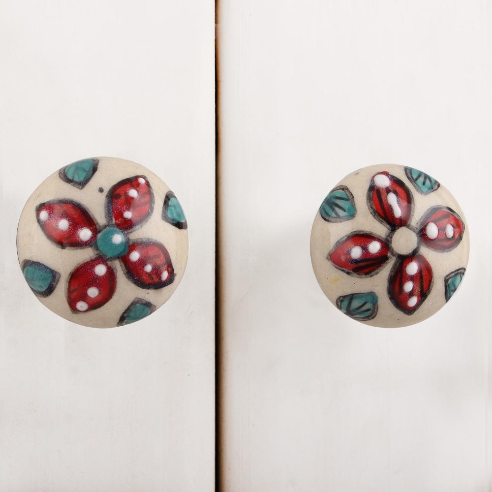 Red Floral Bulb Ceramic Furniture Knob