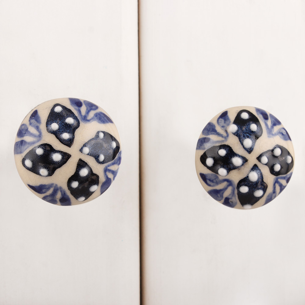 Cream Black Dotted Leaves Ceramic Cupboard Knob