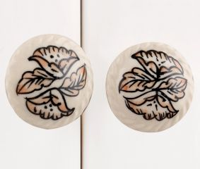 White Leaf Ceramic Knob