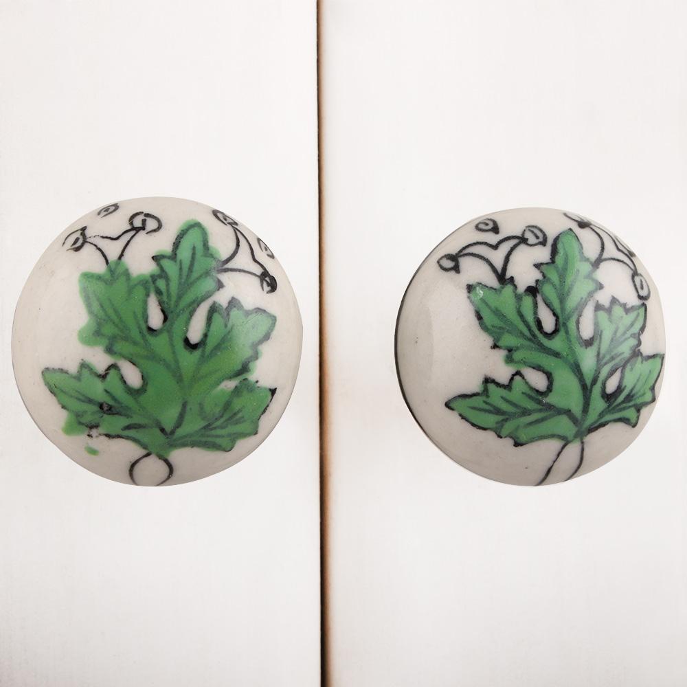 Green Leaf Flat Knob