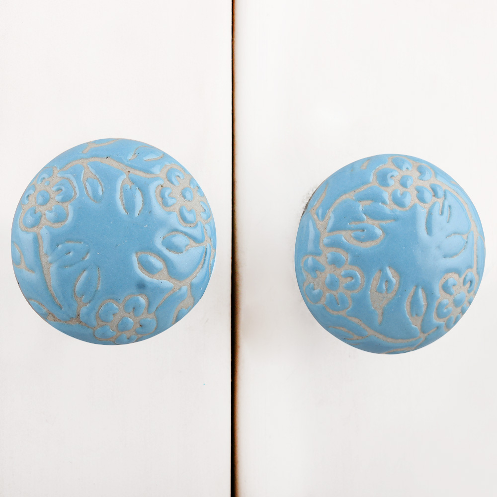 Turquoise Etched Flat Knob
