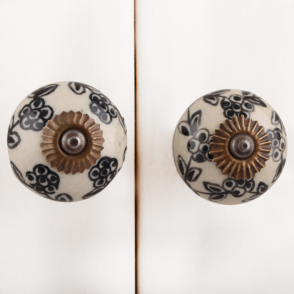 Black Floral Dresser Knob