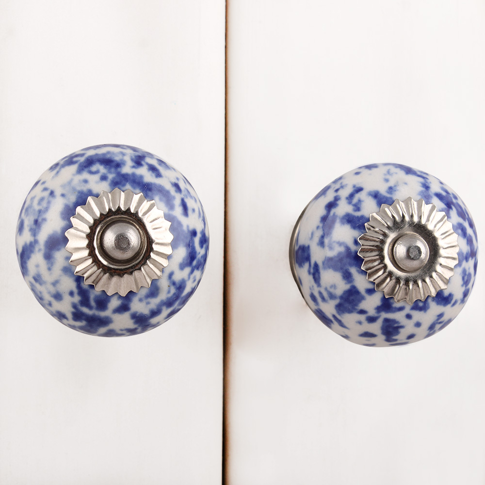Blue Calico Ceramic Dresser Knob