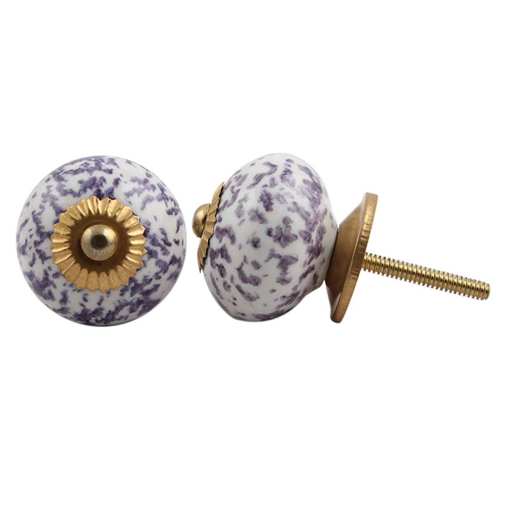 Purple Calico Ceramic Dresser Knob
