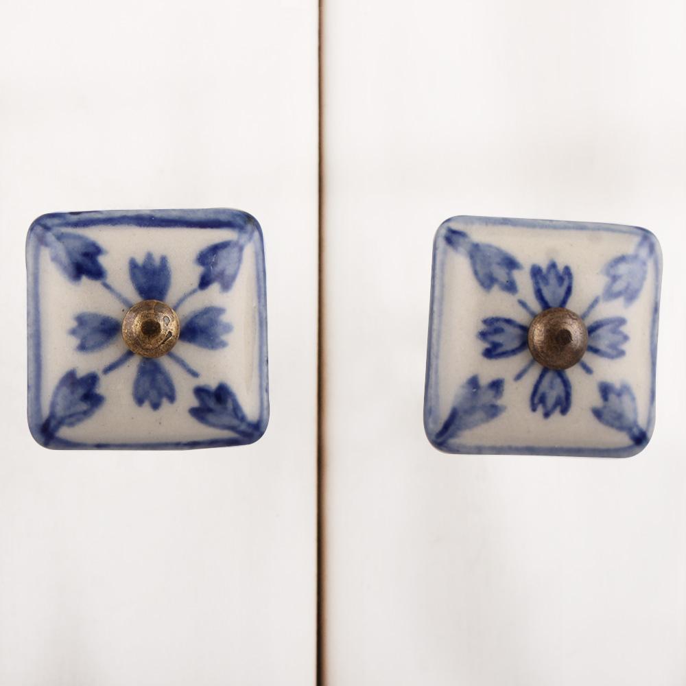 Blue Lily Square Knob