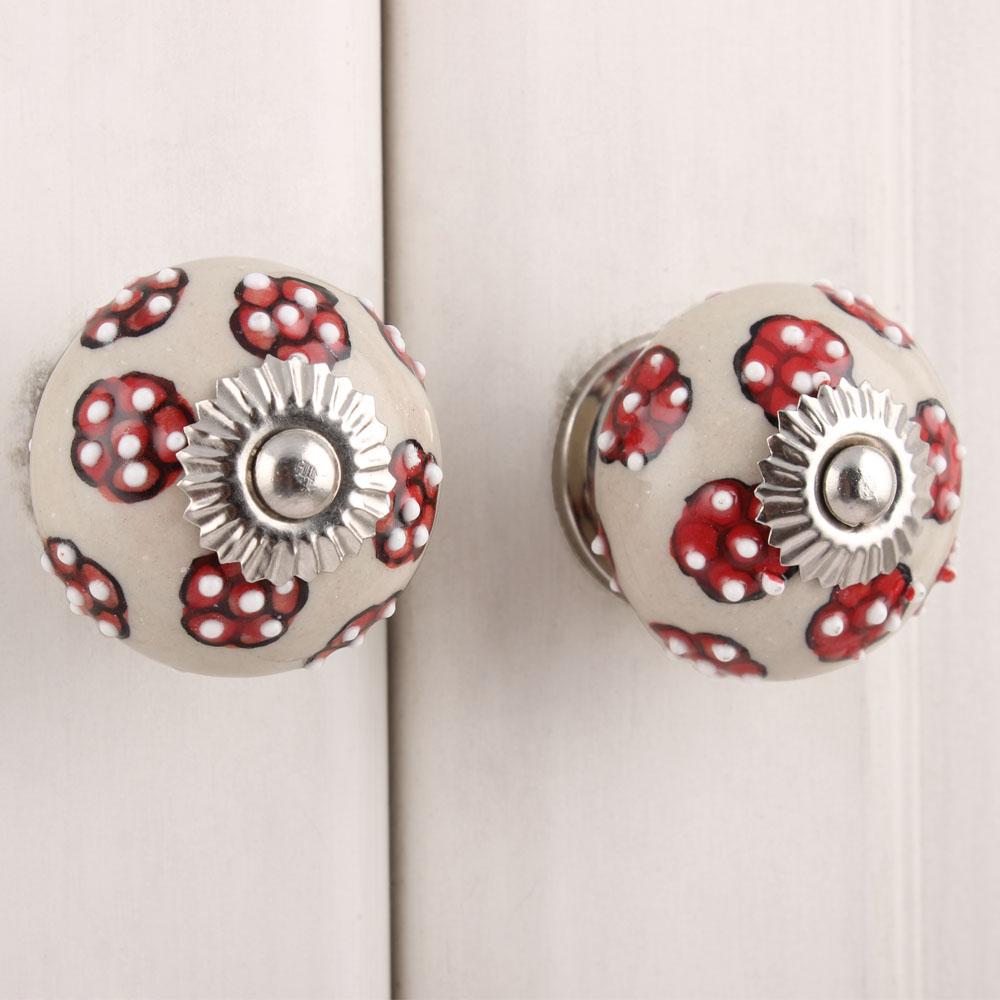 Red Tiny Floral Ceramic Knob