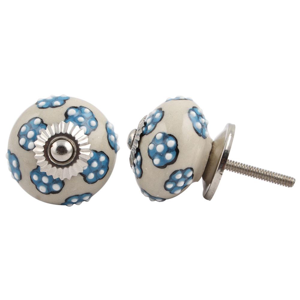 Turquoise Tiny Floral Ceramic Knob
