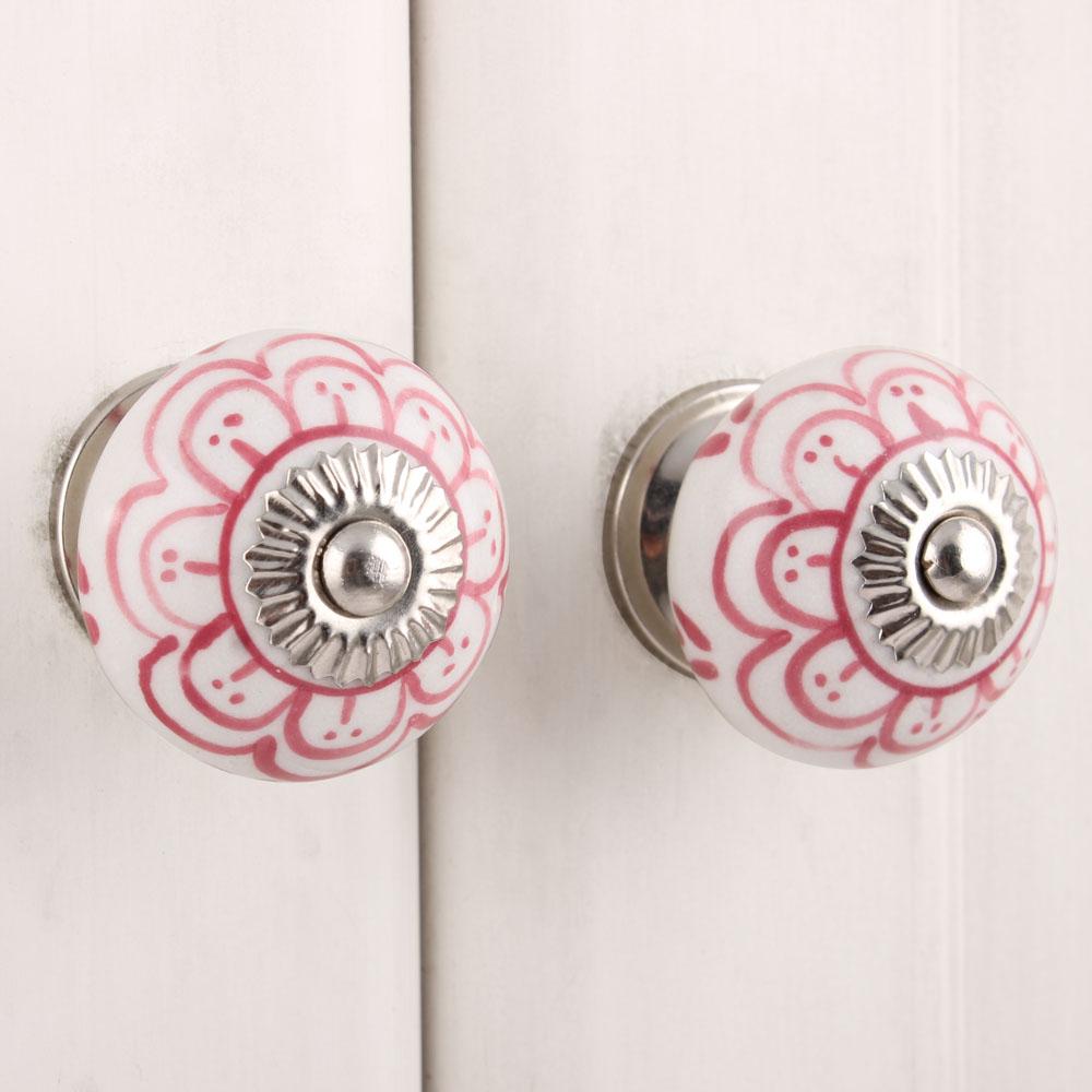 Dark Pink Flower Ceramic Knob