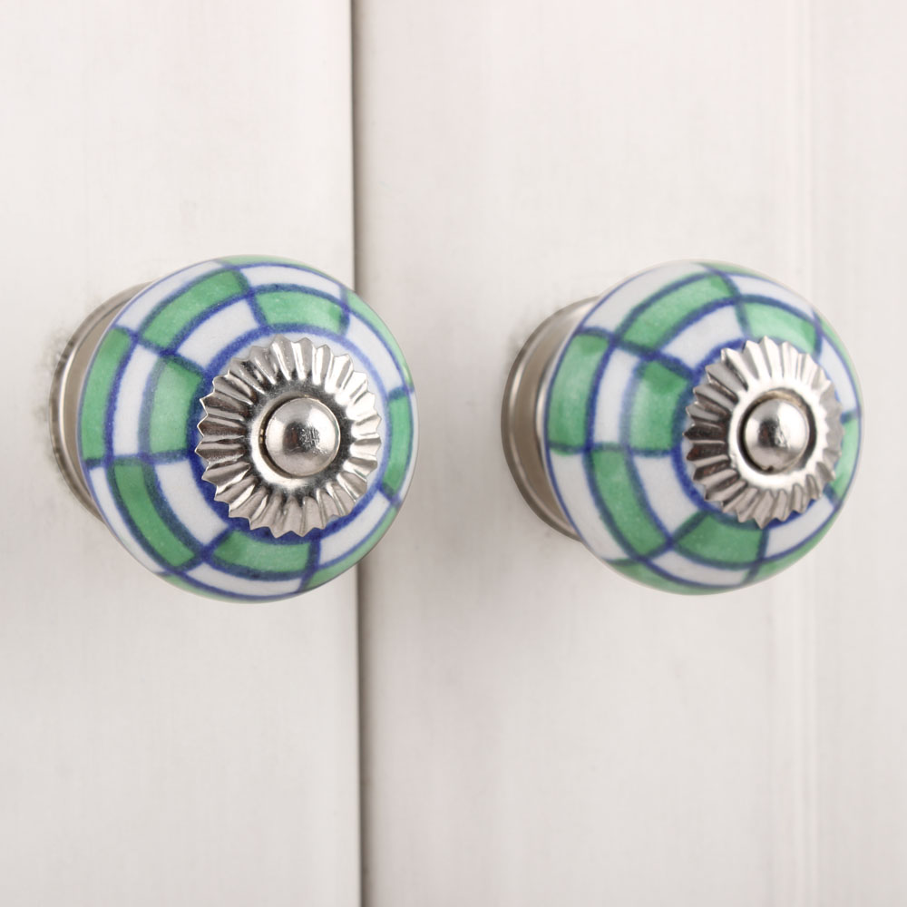 Green Check Ceramic Knob