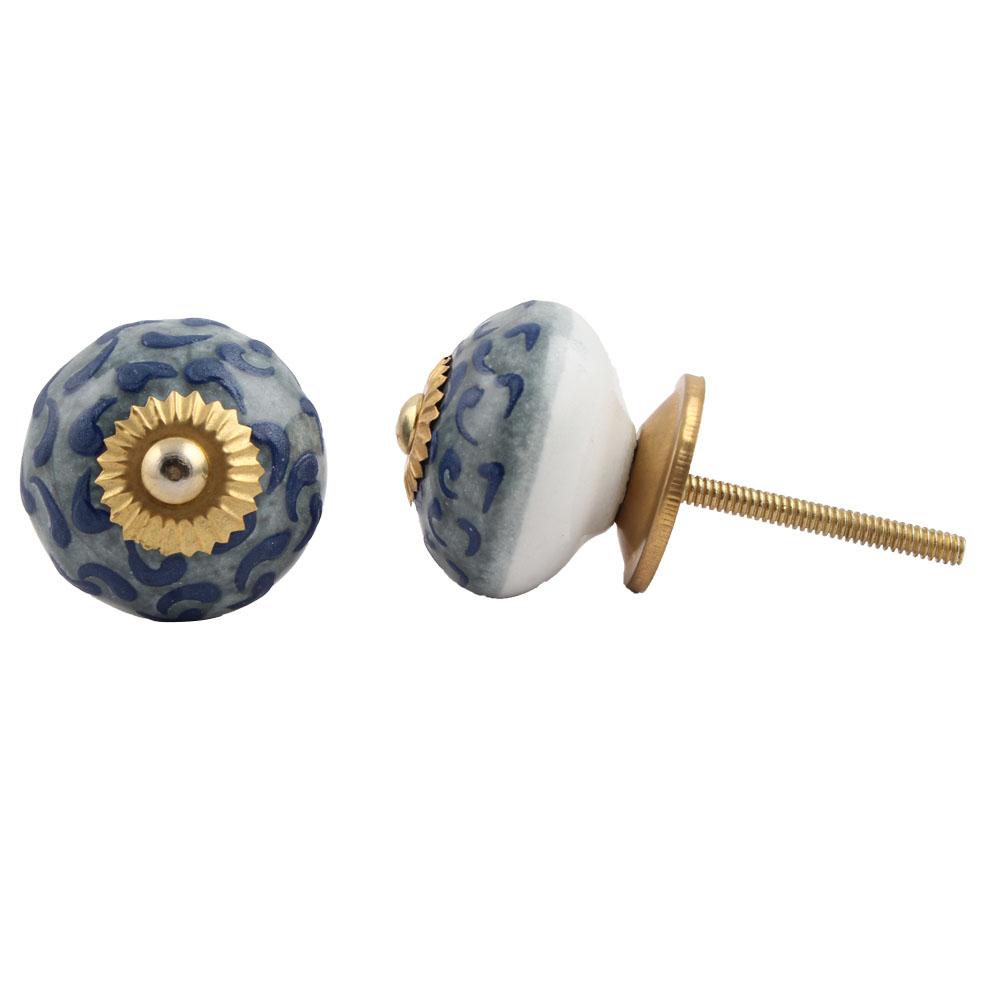 Grey Blue Floral Ceramic Knob