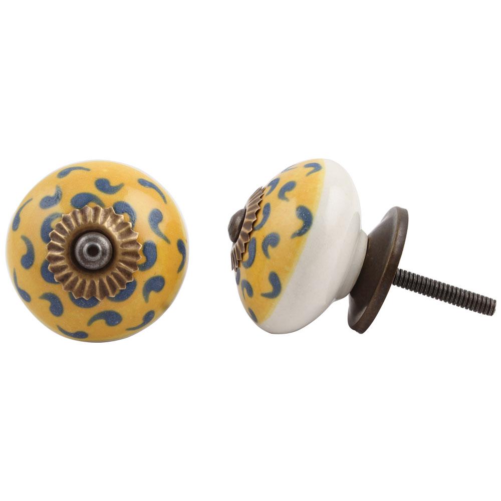 Yellow Blue Floral Ceramic Knob
