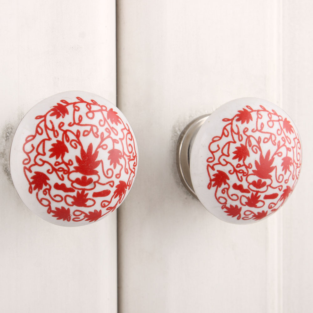 Red Floral Flat Knob