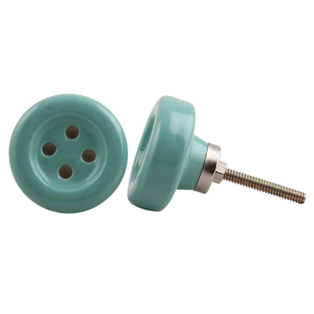 Sea Green Ceramic Button Knob