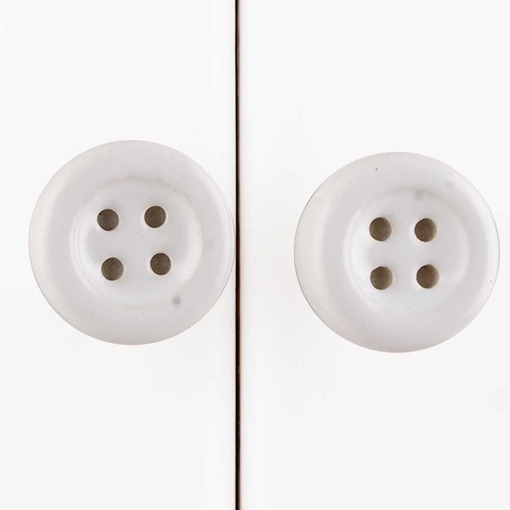 White Ceramic Button Knob