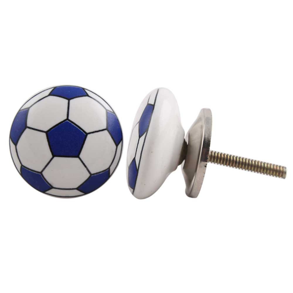 Navy Blue Football Ceramic Flat Knob